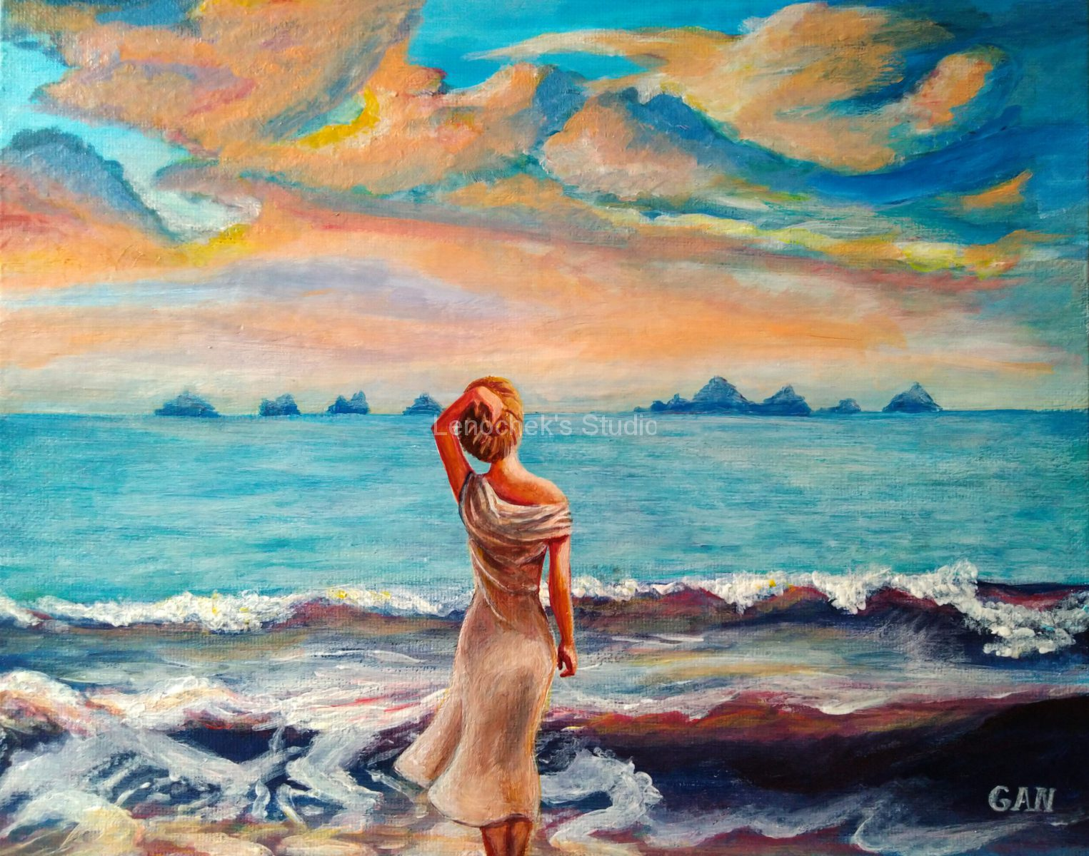 Sunset-waves-acrylic-24x30-canvas-board-