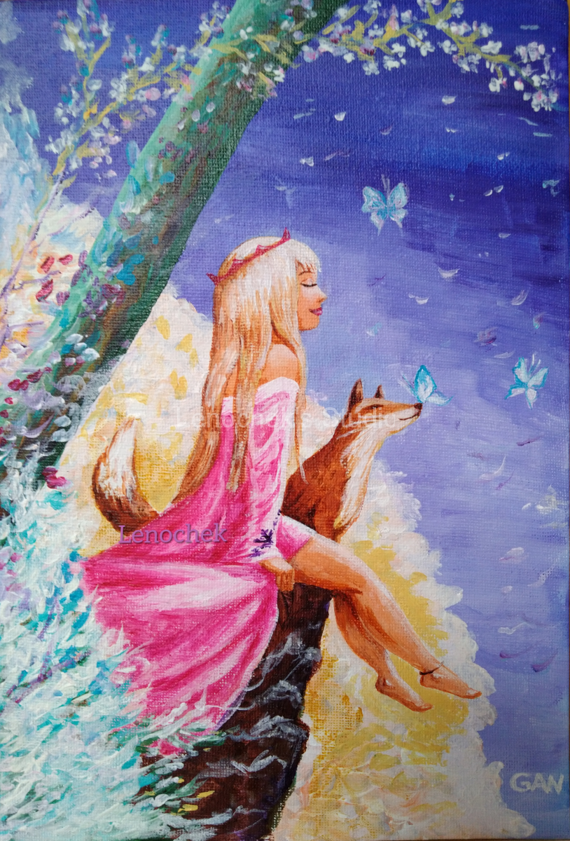 The-Girl-with-the-fox-acrylic-canvas-board-24x30-cm