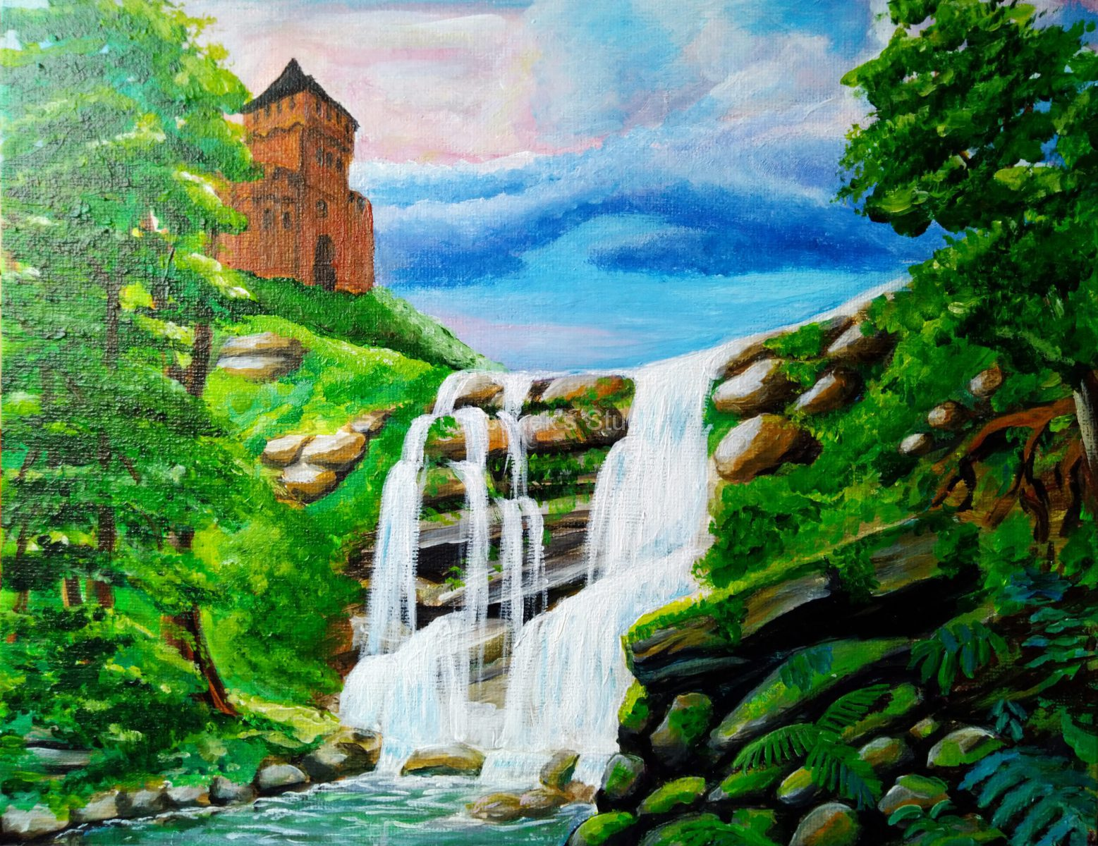 Waterfall-in-the-forest-acrylic-24x30-canvas-board-